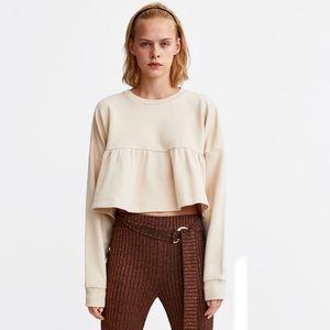 NWT Zara Ruffled Sweatshirt Size S